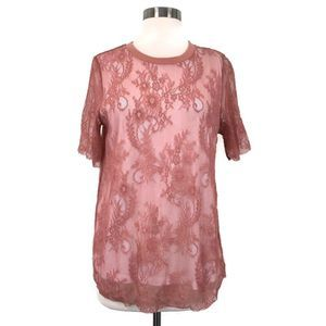 WHO WHAT WEAR Pink Lace Short Sleeve Tee Shirt NWT